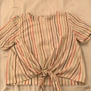 Front tie Madewell striped blouse